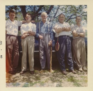 John Regard (cneter) with sons, left to right, Galen, Loren, Clyde, and Roland